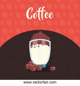 coffee glass with cream and beans vector design