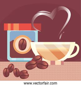coffee jar cup and beans vector design