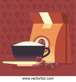 coffee bag and cup with beans vector design
