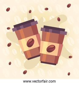 coffee mugs with beans vector design