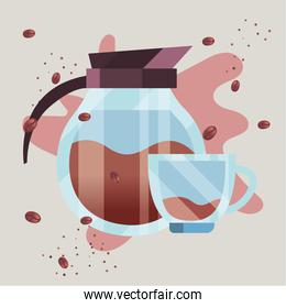 coffee pot and cup with beans vector design