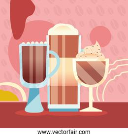 coffee glass and cups with cream vector design