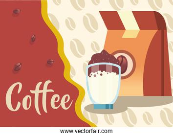 coffee bag and glass vector design