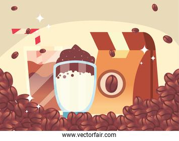 coffee bag and glasses with beans vector design