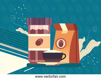 coffee jar bag and cup vector design