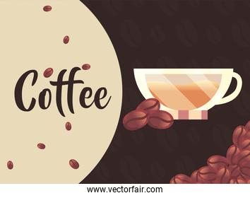 coffee cup with beans vector design