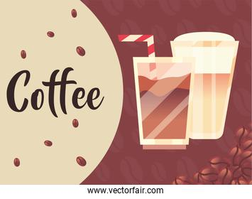 coffee glasses with cream straw and beans vector design