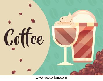 coffee glass mug and cup with beans vector design