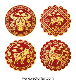 chinese new year 2021 set seals with golden oxen