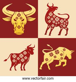 chinese new year 2021 oxen set icons