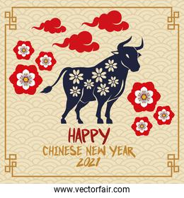 chinese new year 2021 lettering card with ox and flowers