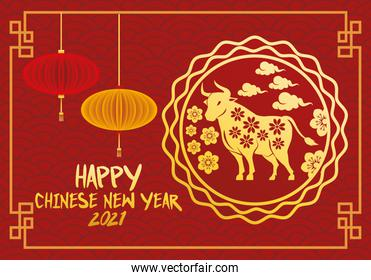 chinese new year 2021 lettering card with lamps hanging and golden ox in lace