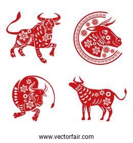 bundle of four chinese new year 2021 set icons