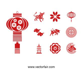 bundle of ten chinese new year 2021 set icons