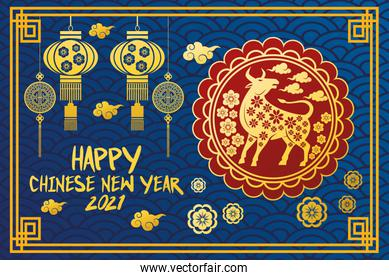chinese new year 2021 lettering card with golden ox in seal