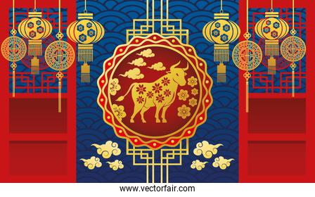chinese new year 2021 card with golden ox and lamps hanging decoration