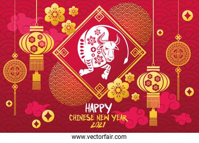 chinese new year 2021 lettering card with ox and golden lamps