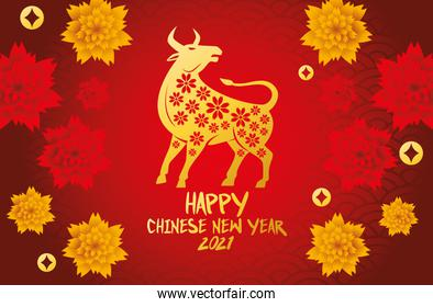 chinese new year 2021 card with golden ox and flowers