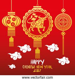 chinese new year 2021 lettering card with golden lamps and ox hanging