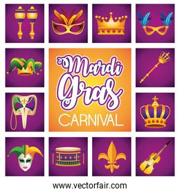 mardi gras carnival lettering with twelve set icons
