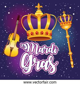 mardi gras carnival lettering with queen crown and fiddle