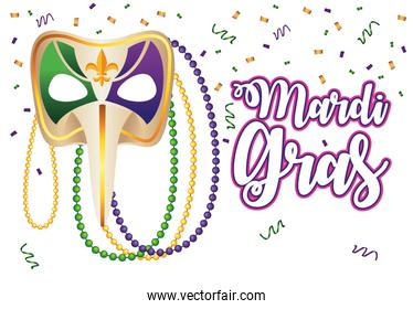 mardi gras carnival lettering with harlequin mask