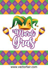 mardi gras carnival lettering with jester hat and maracas