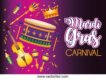 mardi gras carnival lettering with set icons