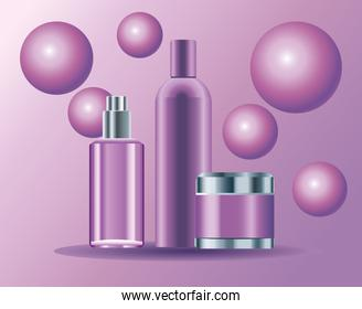 set of three skin care bottles purple color products icons