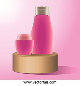 skin care pot and bottle pink products in golden stage