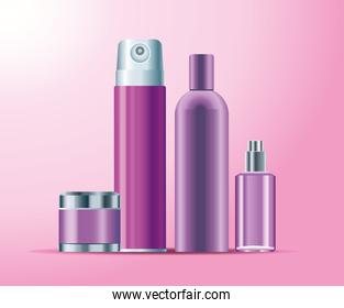 set of four skin care bottles purple color products icons