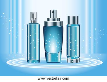 three skin care bottles products color blue set icons