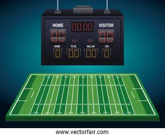 american football camp with yards and scoreboard