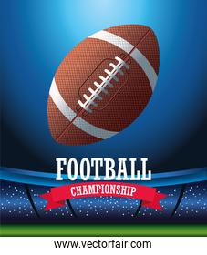 super bowl american football sport lettering with balloon in stadium scene