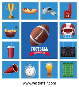 super bowl american football sport lettering with ball and set icons