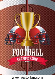 super bowl american football sport lettering with trophy cup and helmets