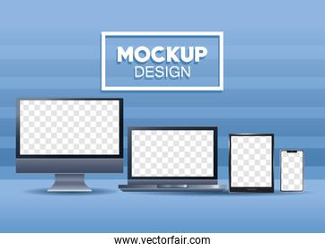 bundle of four devices mockup branding icons