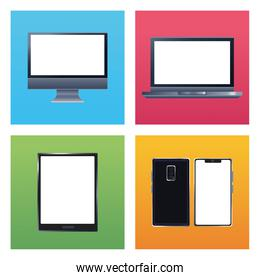 bundle of five devices mockup branding icons