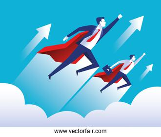 two elegant businessmen workers flying with heros capes characters