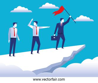 three elegant businessmen workers in the top mountain with success flag