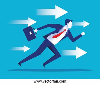 elegant businessman worker running with arrows character