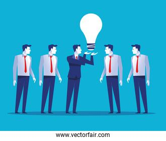 group of five businessmen workers avatars characters