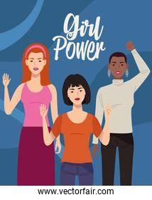 group of beautiful women characters with girl power lettering