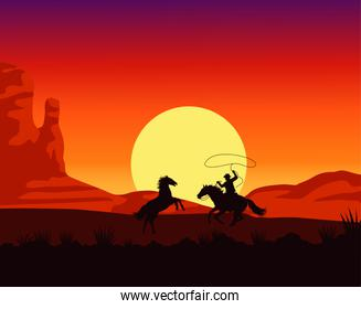 wild west sunset scene with cowboy lassoing horse