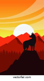 wild west sunset scene with dog mascot silhouette