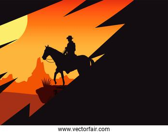 wild west sunset scene with horse and cowboy