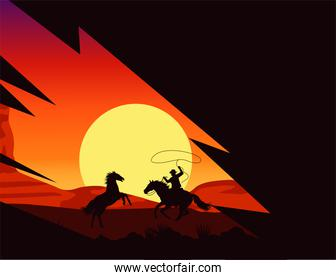 wild west sunset scene with cowboy and horses