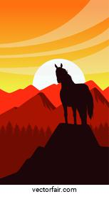 wild west sunset scene with horse in the mountain top