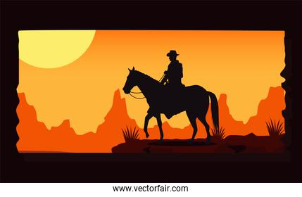 wild west sunset scene with cowboy in horse