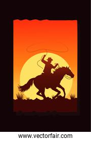 wild west desertic sunset scene with cowboy in horse